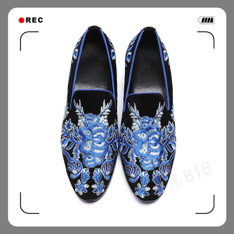 moda Men Leather Party Slip On Business Loafers Loafers Loafers Driving Formal embroidery Floral Shoe  prezzo all'ingrosso e qualità affidabile
