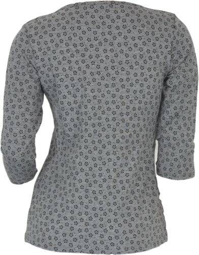 IWIE Damen Shirt ¾ Arm Blumenmuster Grau