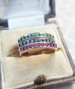9ct-Rose-Gold-Half-Eternity-Stack-Ring-Ruby-Emerald-or-Sapphire