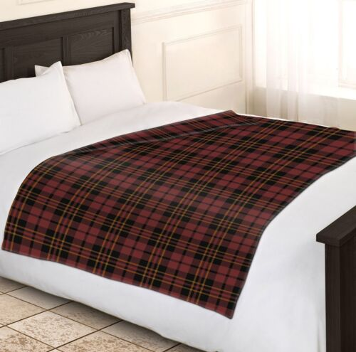Doux Chaud 150x200cm Double Brown /& Wine Tartan Carreaux Jeté De Lit Couverture Polaire