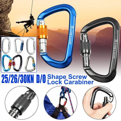25//30 KN O-Shape Safety Rock Climbing Rescue Screw Lock Carabiner Clip Hook