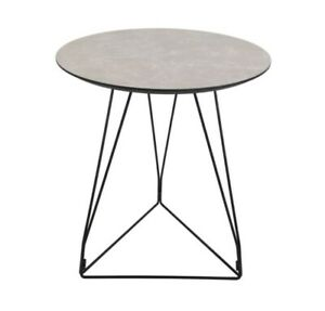 Details About Grey Marble Side Table Round Stone Effect End Lamp Bedside Unit Black Metal