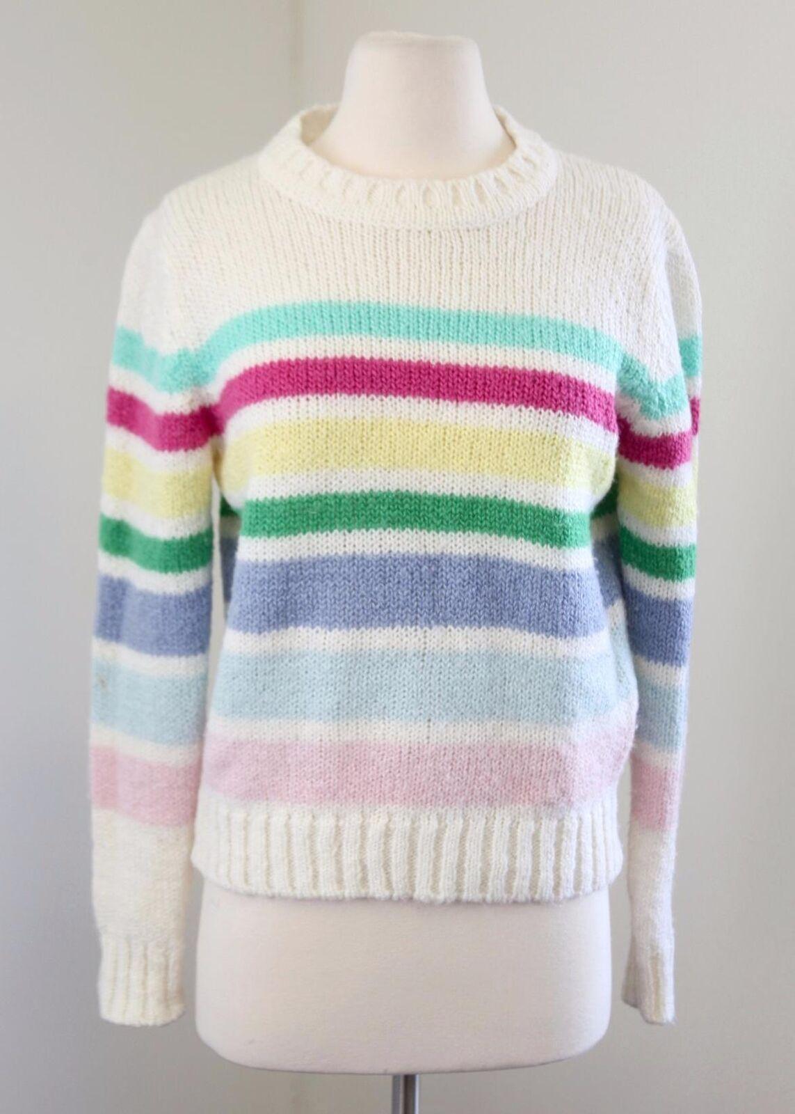 Vtg Pastel Rainbow Striped Acrylic Sweater Size 40 - S   M Hong Kong Retro Rave