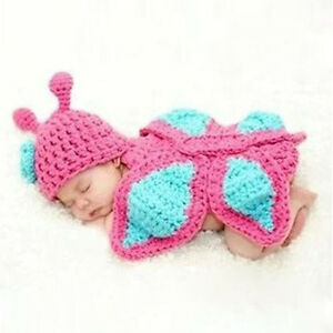 Baby-Newborn-0-9M-Knit-Crochet-Handmade-Butterfly-Clothes-Photo-Outfits-Sets-New