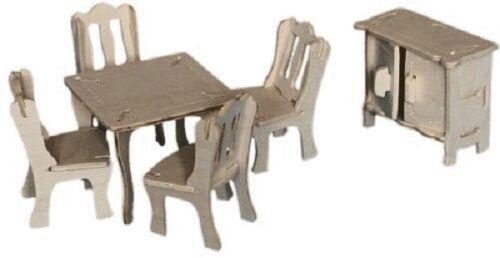Dining Room Set Woodcraft Construction Wooden Dolls House 3D Model Kit CX 703