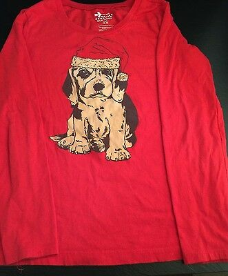 Tee Shirt Top Girls Old Navy Size L 10-12 Solid Red Christmas Hound Santa Hat