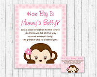 Pop Monkey Pink How Big Is Mommys Belly Baby Shower Game