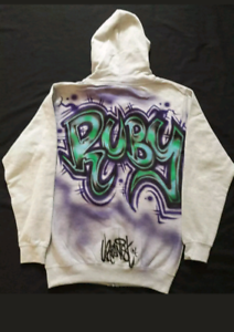 Urbanist Graffiti airbrushed kids grey hoodie 3 colour name on back