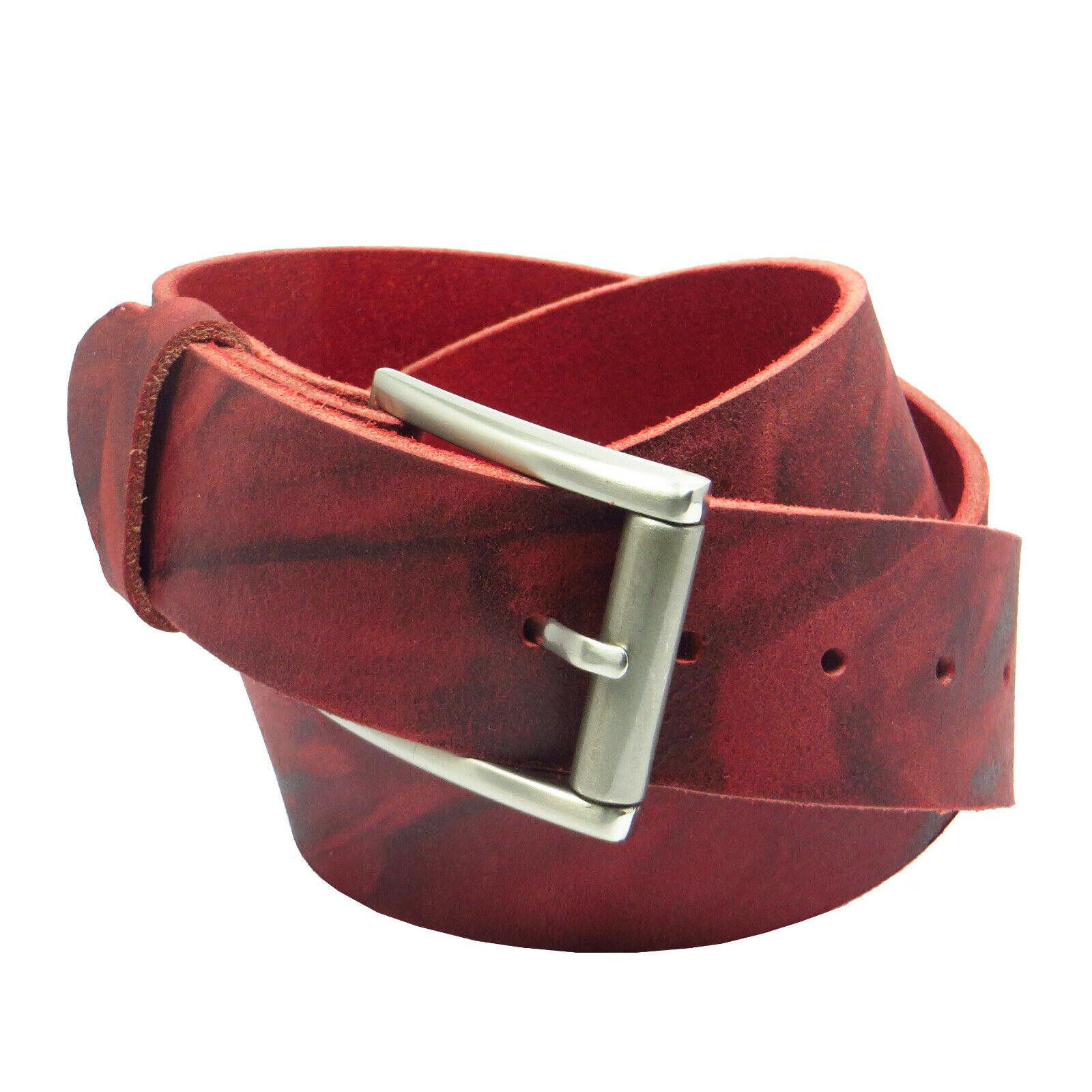 Ledergürtel 4 cm breit rot aus eigener Fertigung Büffelleder Bundweite messen