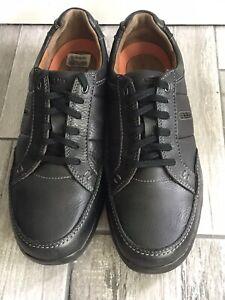 Clarks-Hommes-Sz-9-5-Non-structurees-en-cuir-noir-derbies-chaussures-portees-1x-149-MSRP