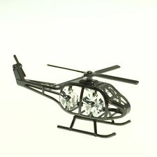 BLACK METALLIC HELICOPTER FIGURINE/ORNAMENT STUDDED SWAROVSKI CRYSTAL ELEMENTS