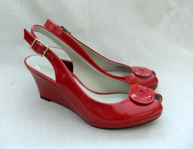 3e4f0cc20e46b5 Clarks Sissy Bahama Womens Red Patent Shoes Sandals UK 6 for sale ...