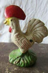 Antique-French-Charming-Clay-Hand-painted-Farmhouse-Cockerel-Rooster-Figure
