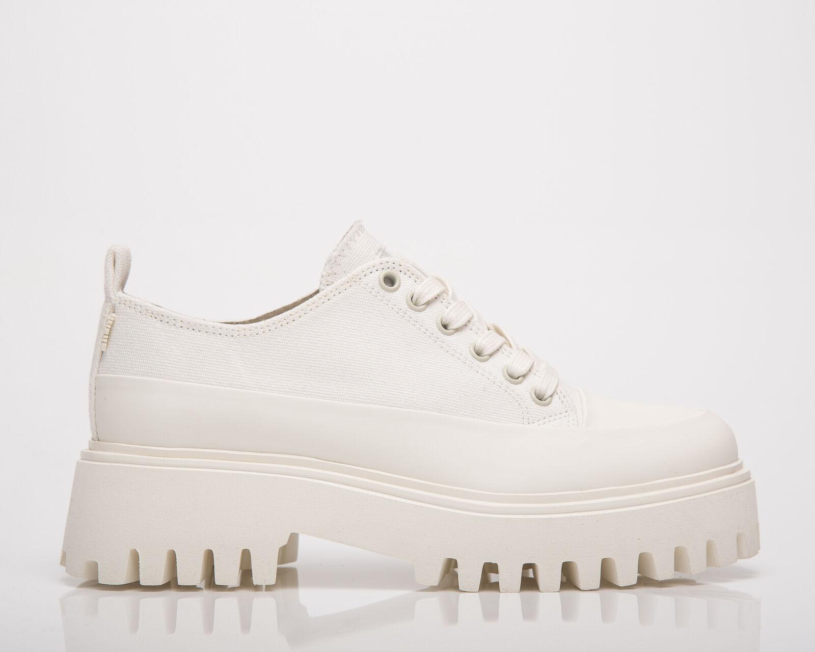 BRONX Groov-Y Lace Up Canvas Femmes Blanc Bas Décontracté Vie Bottes Chaussures