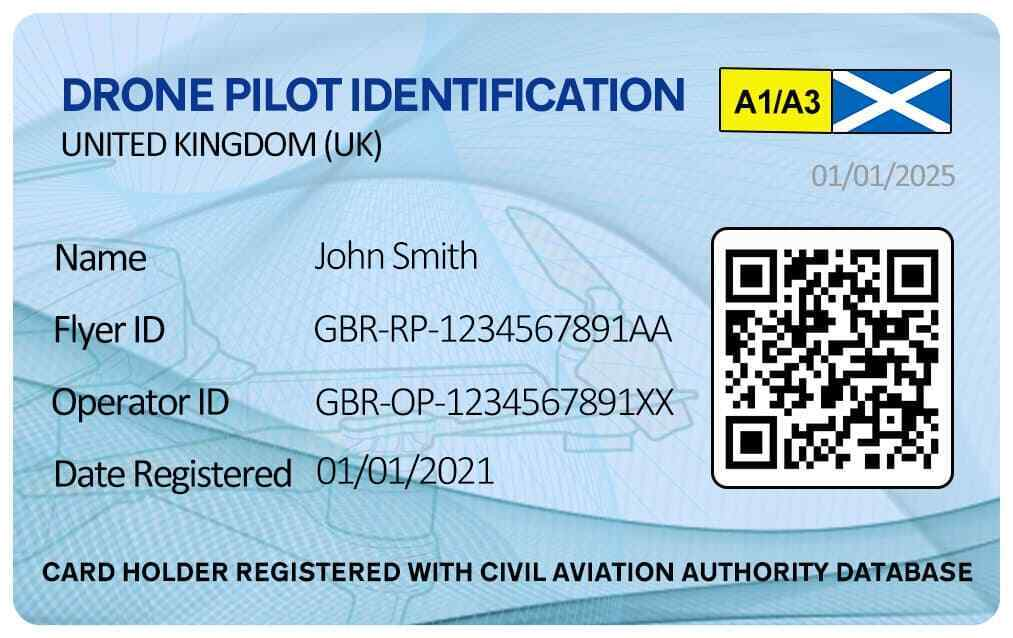 Scottish Drone ID Card with QR - Drone Operator & Flyer ID Card - Scottish Flag