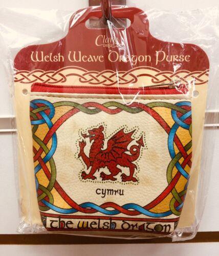 """Zip Purse Welsh Dragon """"Celtic """" Welsh Weave Design Cymru Coins Notes Cards Key"""