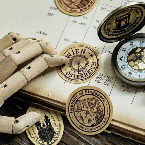 46x//box Vintage Travel DIY Diary Stickers Paper Lables Gifts Packaging Decor Jw
