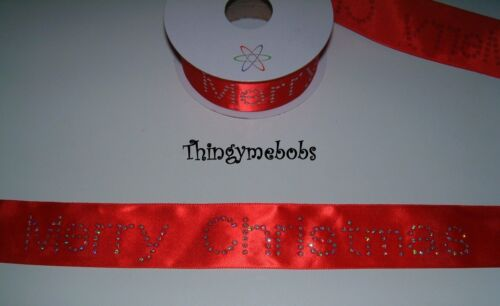 1 M x 40 cm Rojo Feliz Navidad cinta de brillo//Sparkle-Artesanía//Pastel haciendo