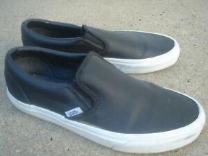 mens-VANS-skateboarding-black-leather-lowtop-shoes-size-7-5-M-sneakers-SB-bmx
