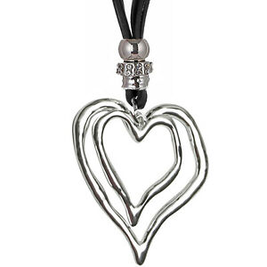Large silver twin heart pendant black suede long necklace fashion image is loading large silver twin heart pendant black suede long aloadofball Choice Image