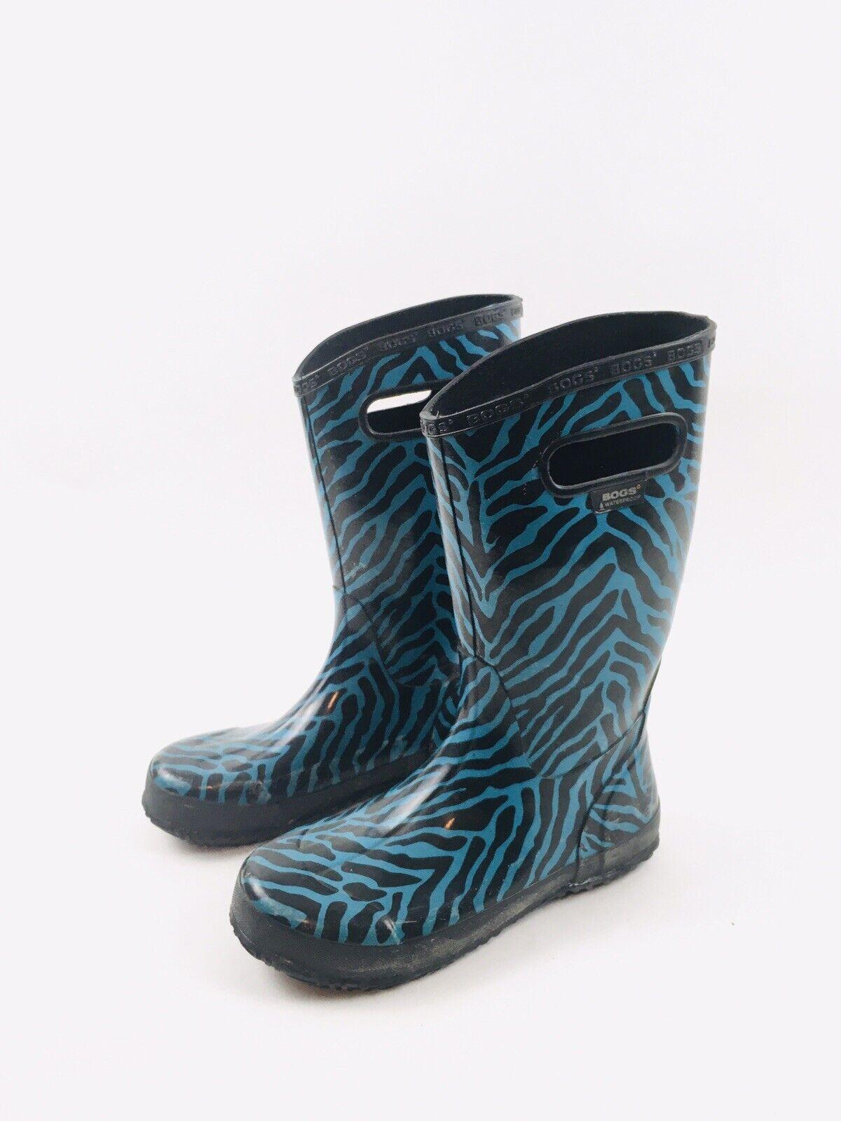 Bogs Classic Tall Zebra Black Turquoise Womens Yo… - image 1