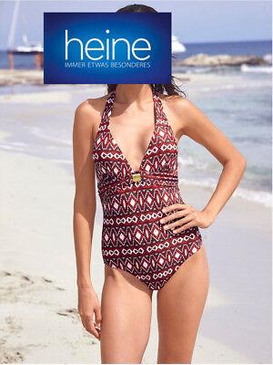 Cup B Heine NEU!! Badeanzug mit Blütenapplikation Koralle KP 59,90 €