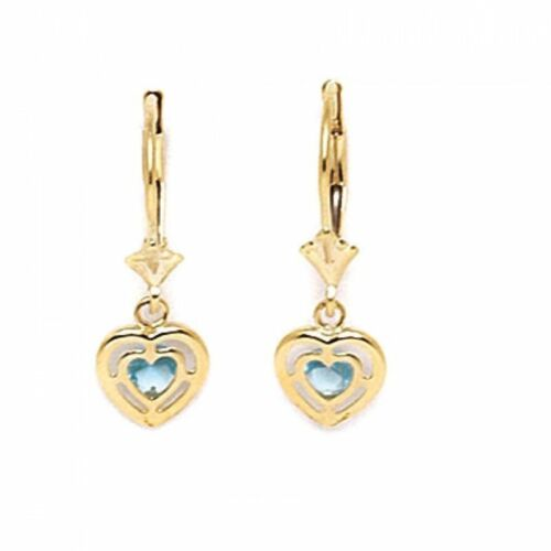 Women//Childrens 14K YG Aquamarine March Birthstone Heart Leverback Earrings