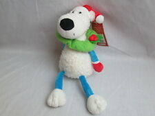 ANIMAL ALLEY WHITE POLAR BEAR PLUSH CHRISTMAS WREATH SANTA HAT FLOPPY BLUE LEGS
