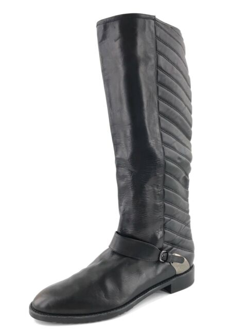 d22b06e6ded Stuart Weitzman Raceway Tall Knee Black Leather Quilted Flat Boot Size 8 M
