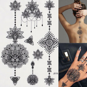 Sexy Body Art Temporary Tattoo Black Henna Lace Tattoos Adult Tribal