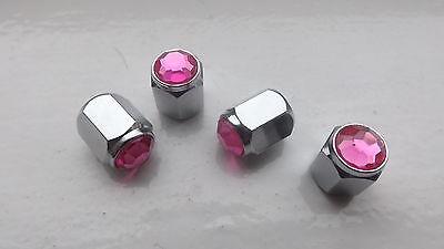Pink Diamante locking lockable Dust Cap Valves