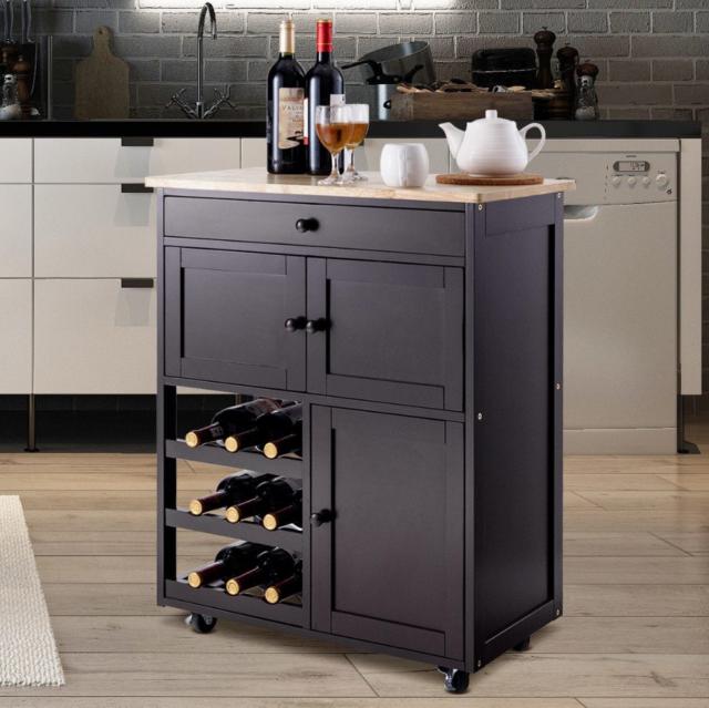 Small Kitchen Island Rolling Cart On Wheels Trolley Storage Cabinet Wine Rack