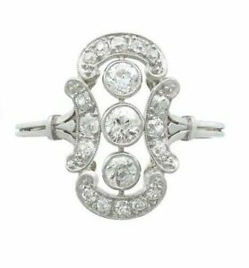 2-10-CT-Diamond-14k-White-Gold-FN-Antique-Cluster-Cocktail-Art-Deco-Ring-925-SS
