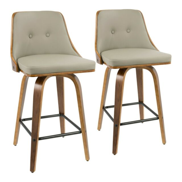 Superb Gianna 26 Counter Stools In Walnut Wood Light Grey Faux Leather Set Of 2 Gmtry Best Dining Table And Chair Ideas Images Gmtryco