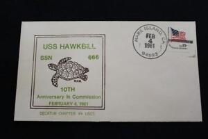 Naval-Housse-1981-Main-Cancel-10TH-Anniv-Commission-Uss-Hawkbill-SSN-666-6079