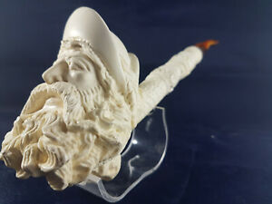 Antique High-Quality Meerschaum Hand-Carved Head Pipe Unsmoked