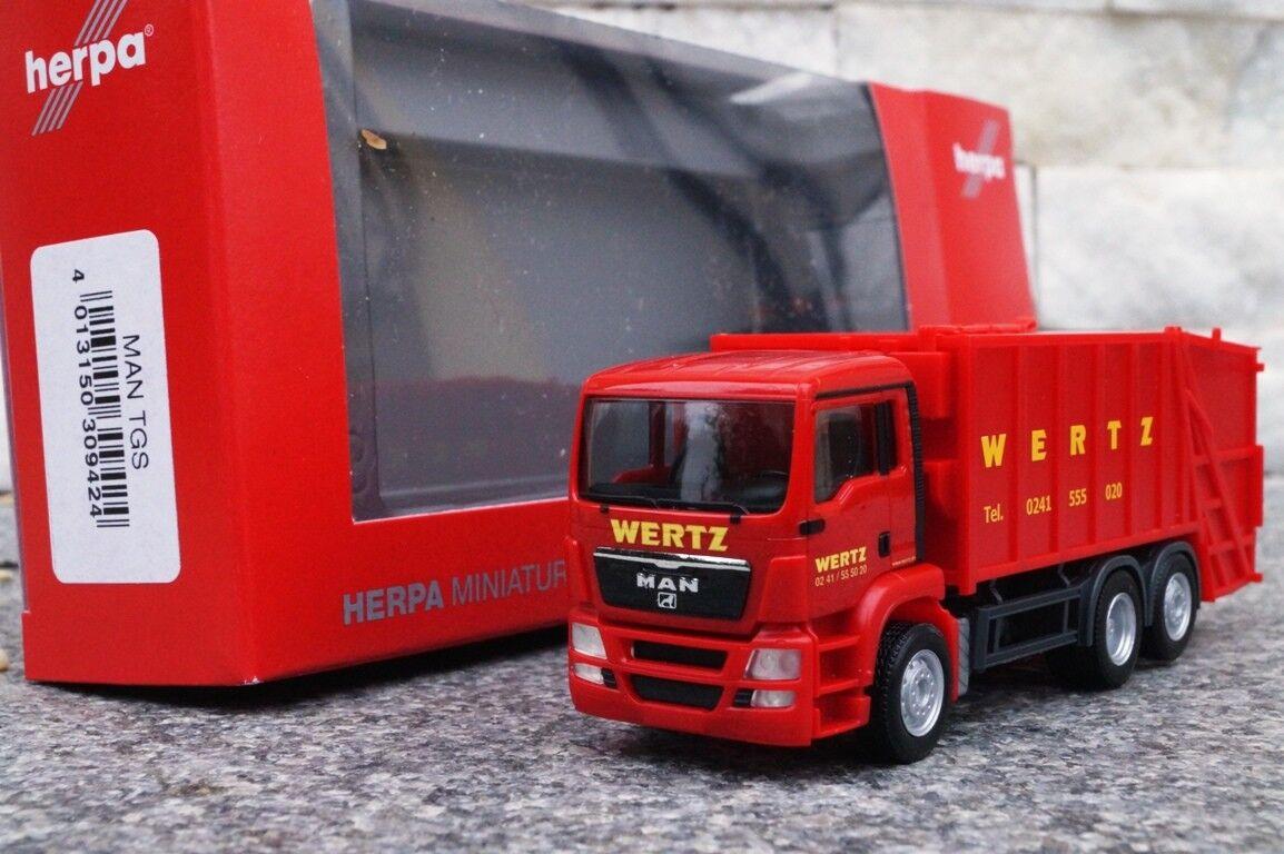 Herpa MAN TGS Pressmüllwagen  marwertz Aachen  309424 Neuf 1 87