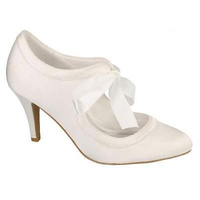 LADIES WEDDING SHOES WOMENS HEELS SATIN BRIDAL BRIDESMAID IVORY WHITE COURT SIZE