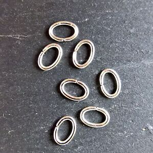 Oval jump rings 7 X 5 x 0.9mm Professional quality. Silver plated
