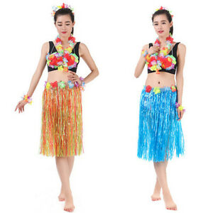Image is loading Hawaiian-Dress-Skirt-Hula-Grass-Skirt-With-Flower-  sc 1 st  eBay & Hawaiian Dress Skirt Hula Grass Skirt With Flower Accessories Lady ...