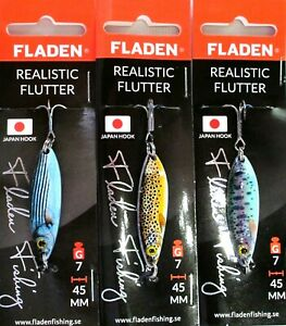 3-Fladen-Realistic-Flutter-Spoon-7g-45mm-Assorted-Colours-Lure-Pike-Trout-Salmon
