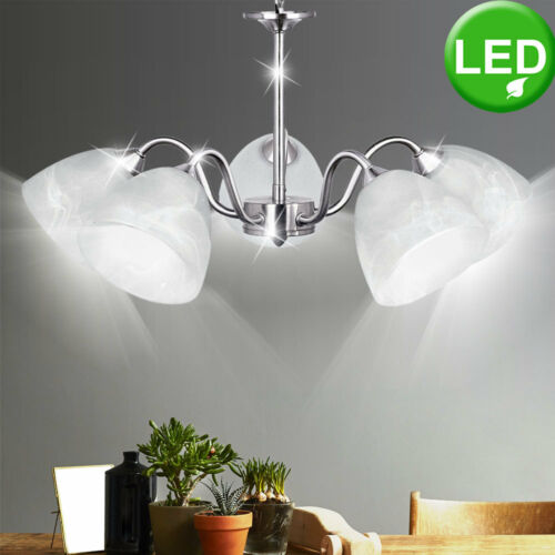 Decken LED Pendel Hänge Lampe Alabaster Glas Leuchte Luster RGB Fernbedienung