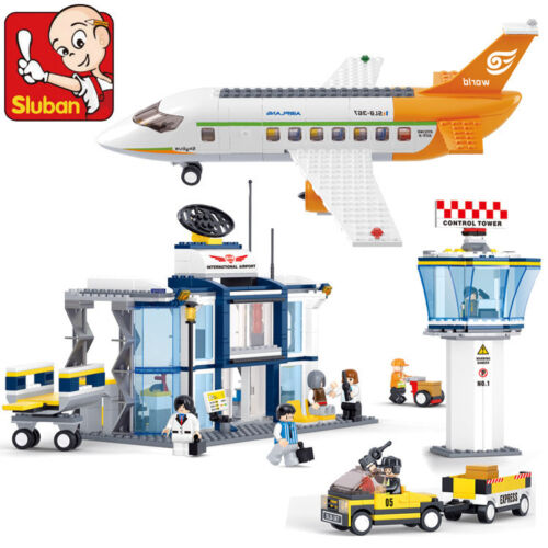Building Blocks Sluban Bricks Toy City Passenger Airplane Airport Minifigure Set