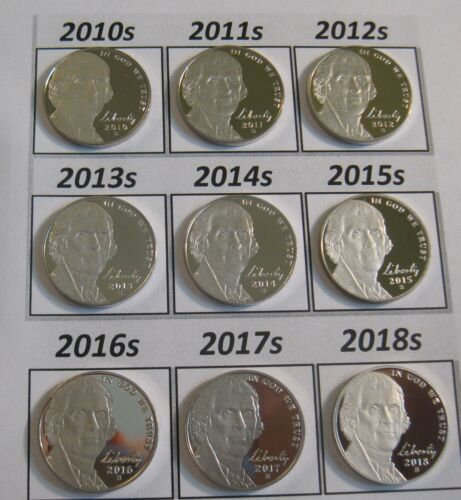 Complete Set Latest 10 Cameo Proof Jefferson Nickels 2010-s to 2019-s In Stock!