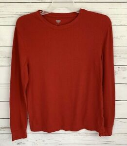 Old-Navy-Thermal-Shirt-Mens-Medium-M-Red-Solid-Long-Sleeve-Stretch-Cotton