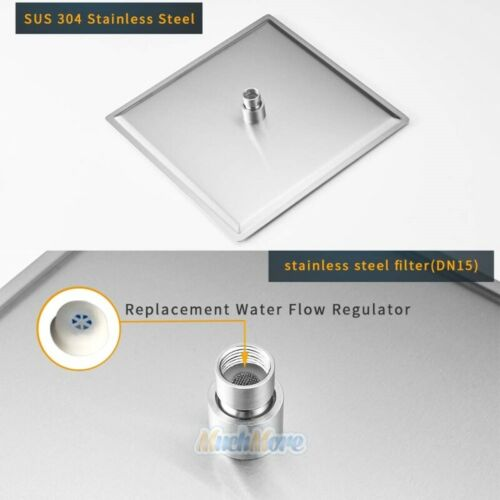 """12/"""" Stainless Steel Rainfall Shower Head with 11/"""" Solid Brass Extension Arm USA"""
