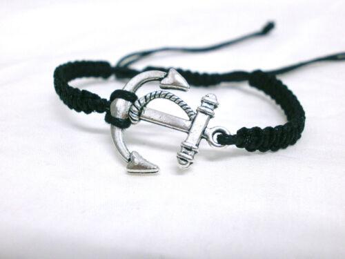 """Pulsera /"""" Mar /"""" charm de ancla plata rodiada y cordón negro"""