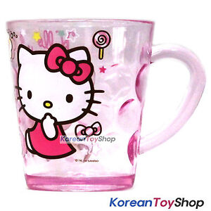 Hello-Kitty-Character-Clear-Plastic-Cup-with-Handle-7-8oz-Made-in-Korea