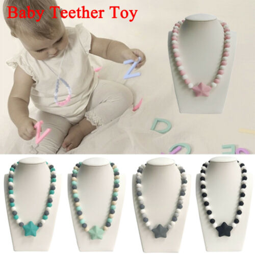 Toddler Newborn Kids Star Chewing Necklace Toy Infant Baby Crib Teether Necklace