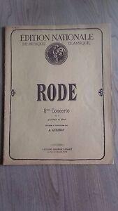 Edizione Nazionale Rode Violino & Pianoforte Spartito Op: 13 M.SENART 1920 Be 30